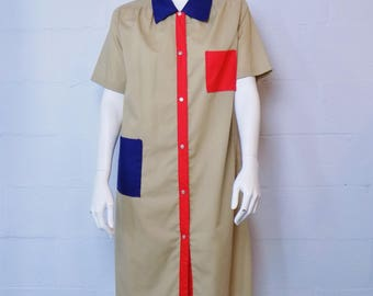 Vintage Beige Red Blue Snap Front House Dress