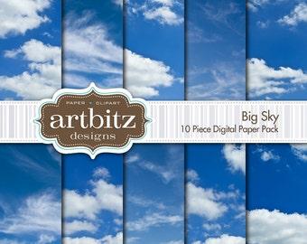 "Big Sky, Vol. 1, 10 Piece Cloud Digital Scrapbooking Paper Pack, 12""x12"", 300 dpi .jpg, Instant Download!"