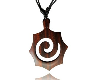 Necklace sono wood spiral pointed honeycomb Brown trailer 65 mm adjustable cotton (KH-59)