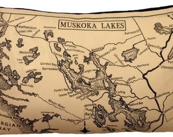 Muskoka Lakes Canada Vintage Map Pillow - FREE SHIPPING