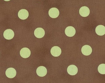 "Dottie Polka dots fabric | Chocolate Brown Celetry Sage polkadots 54"" width 