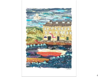 Seaside Harbour, Fabric Collage Print, A4 Print, Harbour Print, Seaside Home Decor, Seaside Print, Harbour Home Decor, Boats Wall Art, Boats