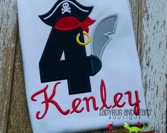 Boy's Fourth Birthday Pirate Top Sizes 3T-5T, 6