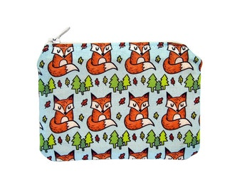 Fox Zippered Pouch - Blue Orange Coin Purse / Illustrated Fabric / Cute Pattern / Forest Print / Zipper Pouch