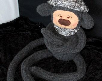Monkey, Sweater Monkey, Upcycled, Monkey Plush, Plush, Primate, Gift, Stuffie, Monkey Stuffie
