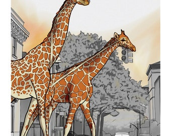 Giraffes/Street Lights -- The Animals Everywhere Series, Print, 8x10