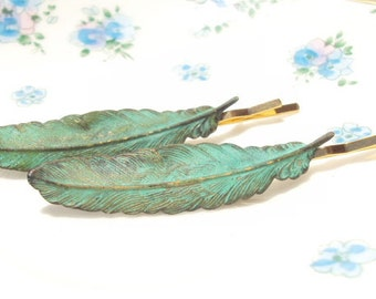 Verdigris Feather Hair Pins - Bobby Pin - Woodland Collection - Whimsical - Bridal