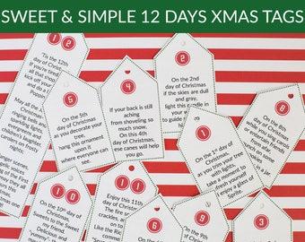 Sweet & Simple 12 Days of Christmas Poem Tags Digital Download