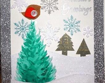 Handmade Christmas card - snowy tree and robin