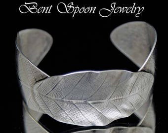 Vintage Silver Spoon Cuff Bracelet, OOAK Large 3 Leaf Embossed recycled Silver Cuff  Bracelet, Contempory Style