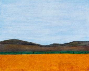 Under A Western Sky : original mixed media American landscape, 24 x 30 inch, California painting, big sky art, peaceful landscape, mountains