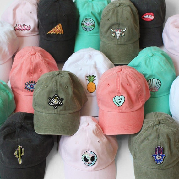 Baseball Hat With Embroidered Patch   Your Choice Of Patch & Cap Color!  Dad Hat    Wildflower + Co. by Etsy