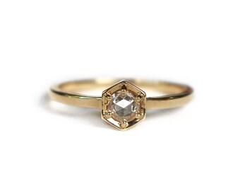 Hexagon Post-Consumer Rose Nouveau Diamond Ring | 14k Yellow Gold