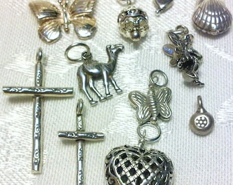 Interchangeable Sterling Silver Charm for Your Hoops or Necklace