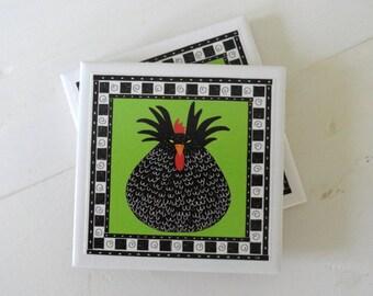 Black Hen on Green Ceramic Drink Coasters-Set of 4