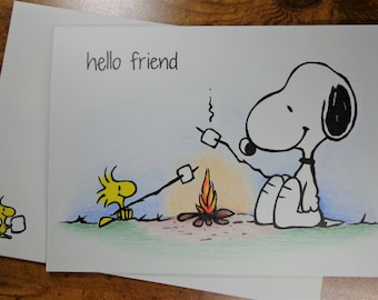 """Hand Drawn Snoopy & Woodstock Friendship card 5"""" x 7"""" with Embellished Envelope - Free Shipping"""