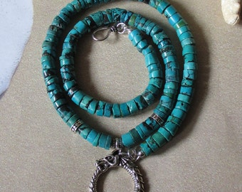 Sea Serpent -- Turquoise and Sterling Dragon Pendant - Viking Dragon Pendant