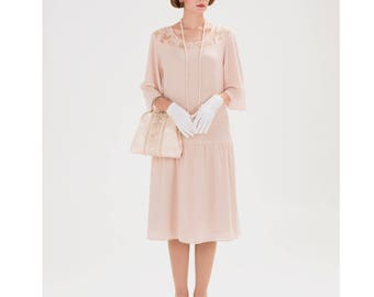 1920s Great Gatsby in nude with elbow length sleeves, 1920s Flapper dress, Downton Abbey dress, Roaring twenties costume, 20s dress