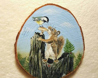 Miniature painting - squirrel, Easter