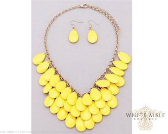 Yellow Tear Drop Necklace, Vintage Inspired Necklace Earrings, Fashion Jewelry Set, Chunky Statement Necklace, Bib Necklace, Earrings