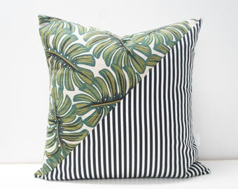 Pillow Cover - Patchwork Pillow Cover, 20x20, black and white stripes with palm leaves