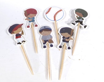 "24pc ""baseball"" tooth pick / cake topper (D60)"