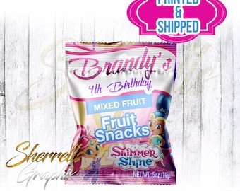 Shimmer and Shine Theme Birthday Personalized Fruit Snacks Bag -Candy Bag-Favor Bag- Party Bag-Candy Bag-Fruit Snacks-Party Favor
