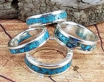 Sterling silver, Sterling silver and turquoise wedding bands, silver bands, sterling silver wedding bands, silver wedding bands