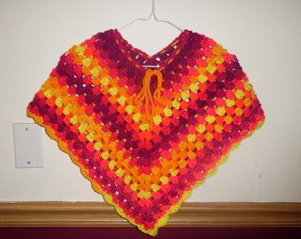 crochet poncho, crocheted poncho, child poncho, easter, spring, child clothing