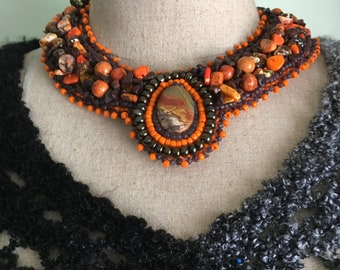 Bead Embroidered Collar -Picasso Jasper