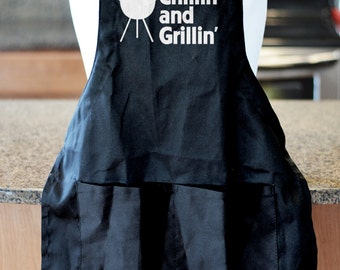 Chillin and Grillin Barbecue Apron, BBQ Accessories, Fathers Day Gift, Grilling Apron, Gift Ideas, Gifts for Dad, Dad Birthday Gift