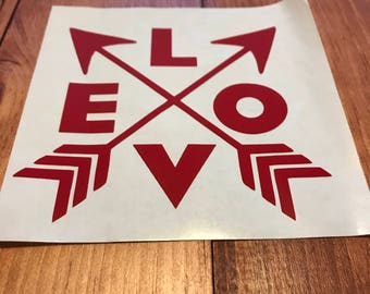 Love Decal with Crossed  Arrows