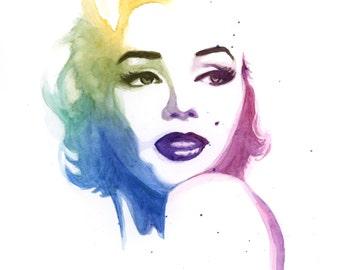 Marilyn Monroe - Colorful Watercolor Art Print
