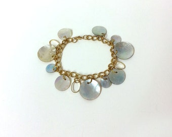 "Vintage Boho Dangle Iridescent Mother of Pearl Shell Bracelet with Circular Hanging Discs, Goldtone, 7.5"" length,"