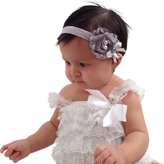 Silver Headband, Flower Headband, Toddler Headband, Baby Headband, Babies Headband, Infant Headbands, Newborn Headband, Silver Headbands