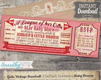 Vintage Baseball Baby Shower Girls Invitation - A League of her Own Rockford Peaches - INSTANT DOWNLOAD - Editable & Printable