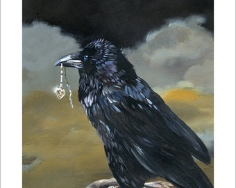 "Collectible Raven 8x10 Print - ""Shiny"" - Raven Artwork Reproduction"