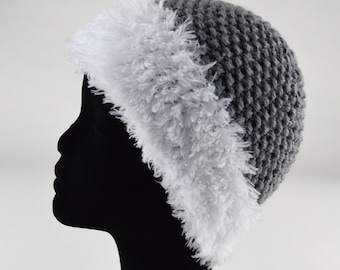 Hand knitted Hat gray and white