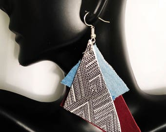 Leather Abstract Statement Earrings- SALE