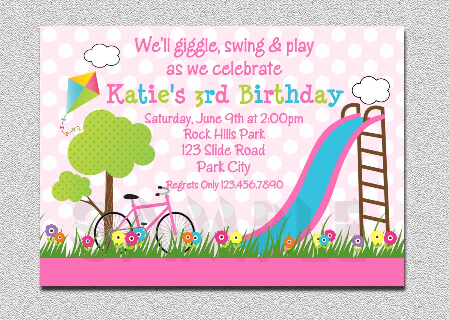 Birthday Party Invitations Girls Pink Playground Swing
