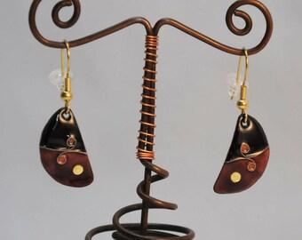 Black and purple cloisonne enamel earrings