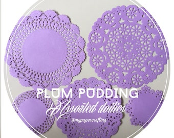 Plum pudding purple pastel color assorted paper doilies for wedding decoration/ pack