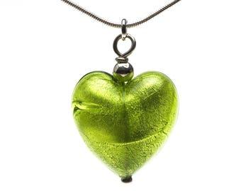 Verde Glass Murano Heart (Lime Green)