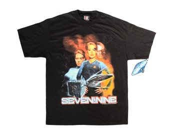 Vintage Seven of Nine Star Trek Voyager Borg Black T-Shirt X-Large Deadstock 90s TV Show Sci-Fi Science Fiction NWT