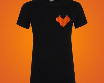 Black t-shirt with orange LEGO® heart