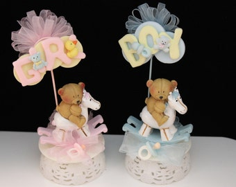 Boy or Girl Shower cake topper/ Pink Rocking Horse/ Teddy Bear / It's a girl / baby girl topper/ baby girl party