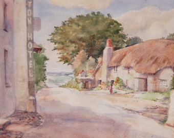 English landscape painting Country cottage Rural scene Thatched cottage Hotel sign Trees English village Watercolour
