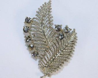 Vintage LISNER Designer Signed Smokey Quartz Rhinestone Leaf Design Pin Brooch