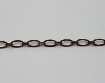 Antique Copper, 6.4mm x 3mm Textured Oval Chain CC174