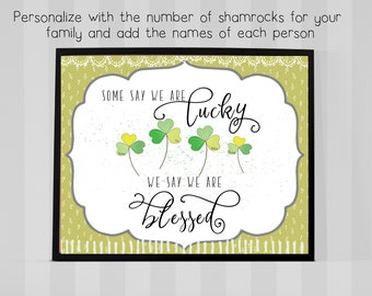 Personalized We are Blessed - St Patrick's Day Print - 8x10 Digital Jpeg File